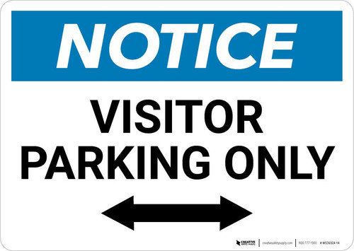 Notice: Visitor Parking Only with Bidirectional Arrow Landscape