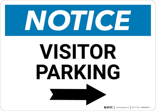 Notice: Visitor Parking with Right Arrow Landscape