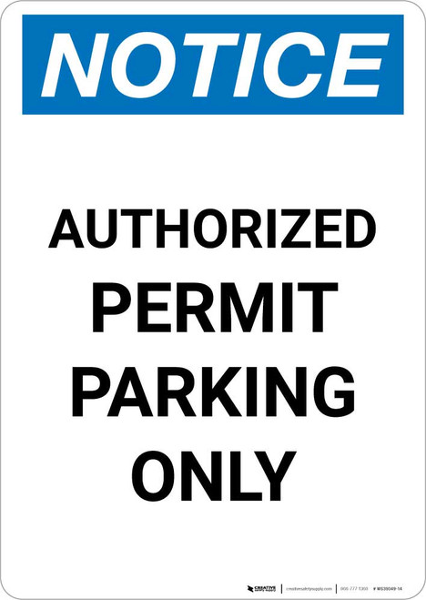 Notice: Authorized Permit Parking Only Portrait