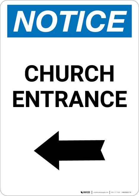 Notice: Church Entrance with Left Arrow Portrait