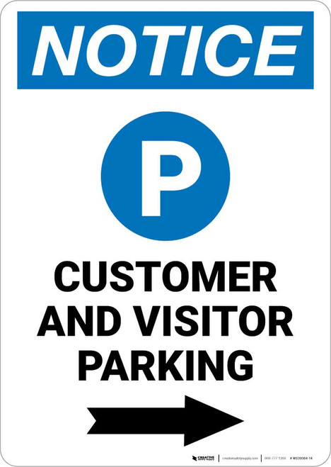 Notice: Customer And Visitor Parking with Right Arrow Portrait