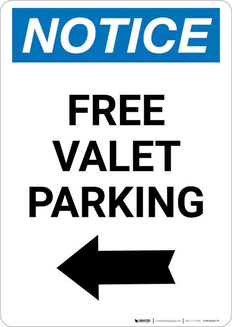 Notice: Free Valet Parking with Left Arrow Portrait