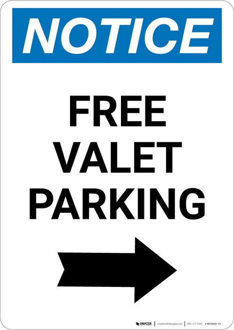 Notice: Free Valet Parking with Right Arrow Portrait