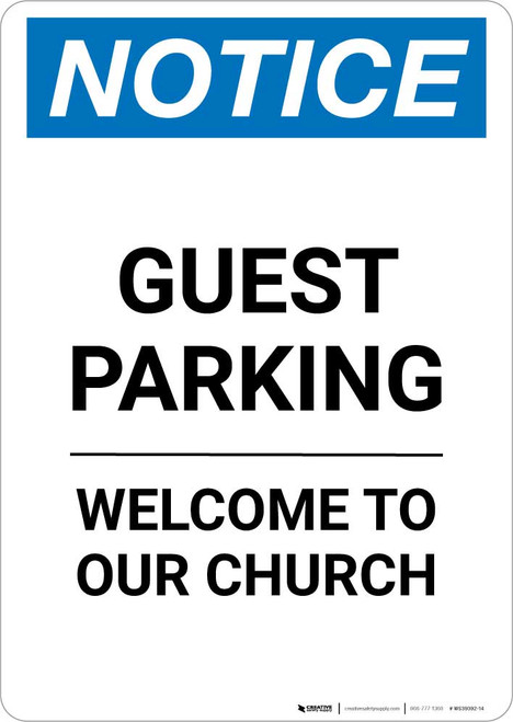 Notice: Guest Parking Welcome To Our Church Portrait