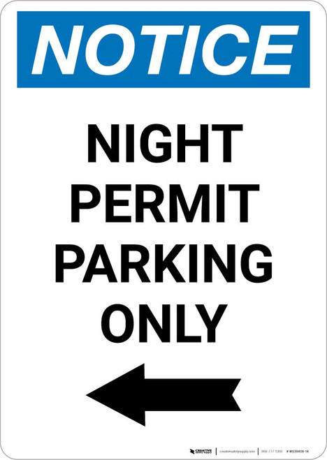 Notice: Night Permit Parking Only with Left Arrow Portrait