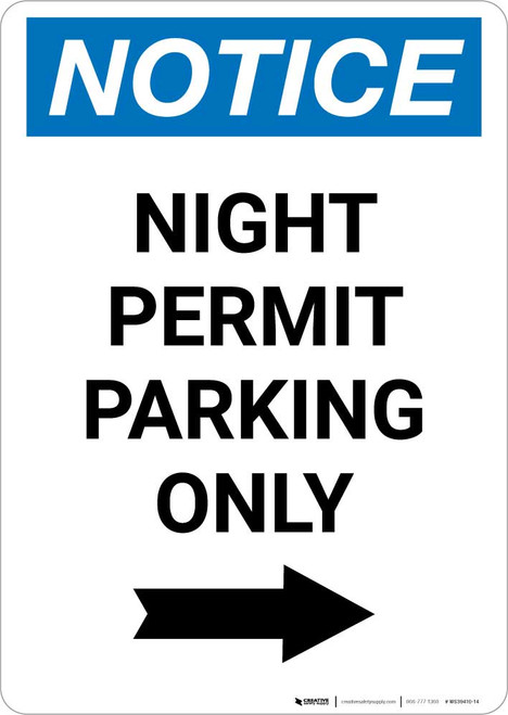 Notice: Night Permit Parking Only with Right Arrow Portrait