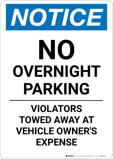 Notice: No Overnight Parking - Violators Towed Away At Vehicle Owner's Expense Portrait