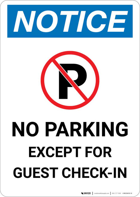 Notice: No Parking Except for Guest Check-In Portrait