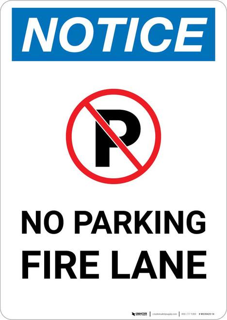 Notice: No Parking - Fire Lane with Icon Portrait