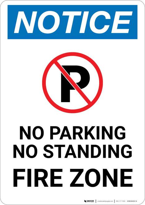 Notice: No Parking or Standing - Fire Zone Portrait