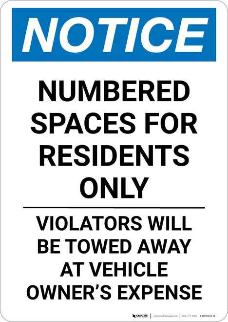 Notice: Numbered Spaces Residents Only Portrait