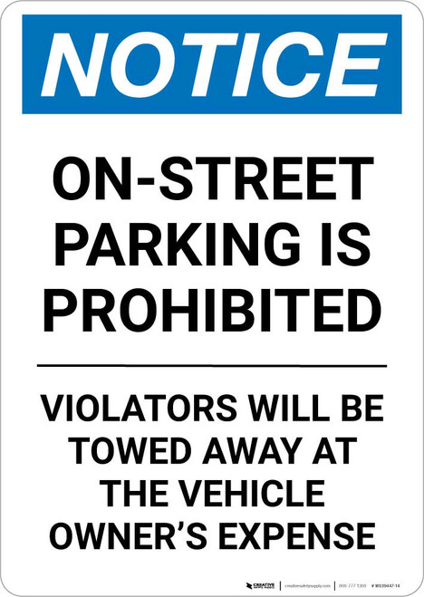 Notice: On-Street Parking Prohibited Portrait