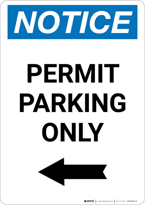 Notice: Permit Parking Only with Left Arrow Portrait