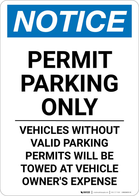 Notice: Permit Parking Only - Vehicles Without Valid Parking Permits Portrait