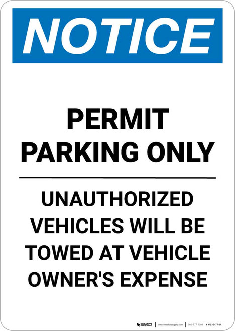 Notice: Permit Parking Only - Unauthorized Vehicles Will be Towed Portrait