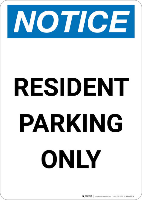 Notice: Resident Parking Only Portrait
