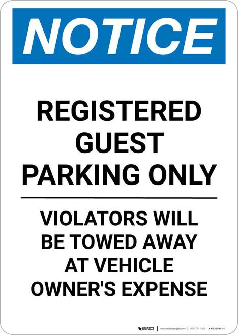 Notice: Registered Guest Parking Only Portrait