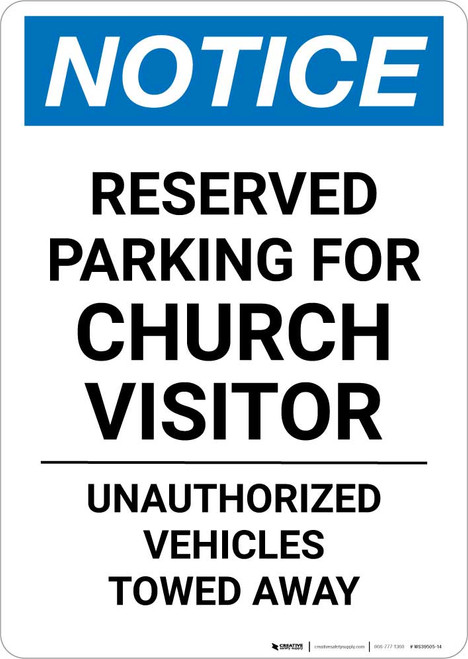 Notice: Reserved Parking for Church Visitors Portrait