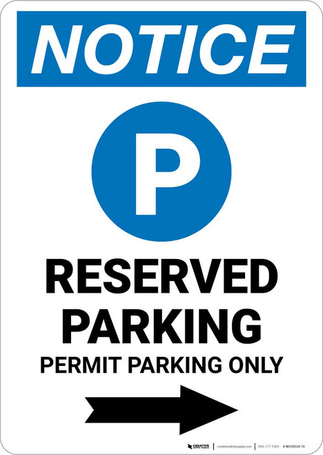 Notice: Reserved Parking - Permit Parking Only with Right Arrow Portrait