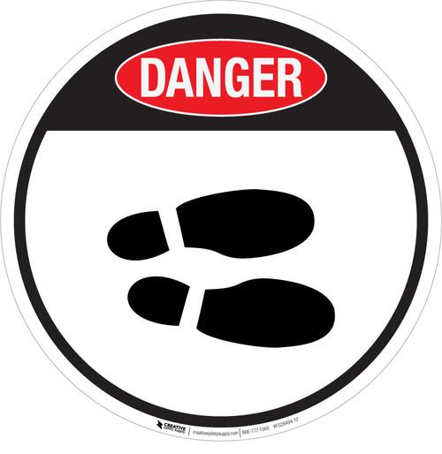 Danger: Shoe Print Right OSHA Circular v2 - Floor Sign
