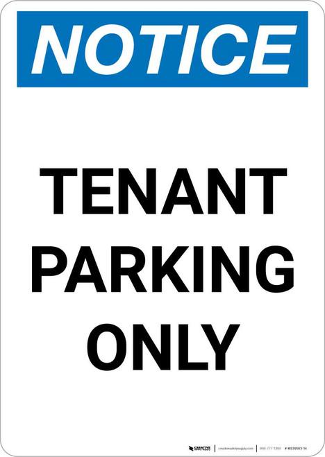 Notice: Tenant Parking Only Portrait