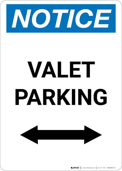 Notice: Valet Parking with Bidirectional Arrow Portrait