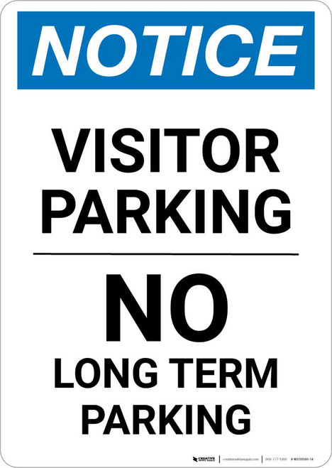 Notice: Visitor Parking - No Long Term Parking Portrait