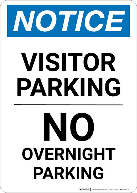 Notice: Visitor Parking - No Overnight Parking Portrait