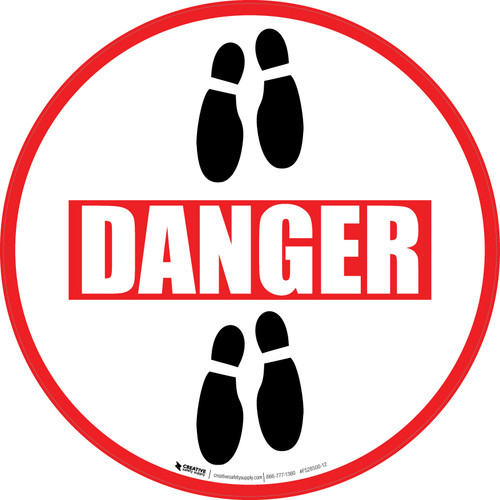 Danger: Shoe Prints Down Circular v2 - Floor Sign