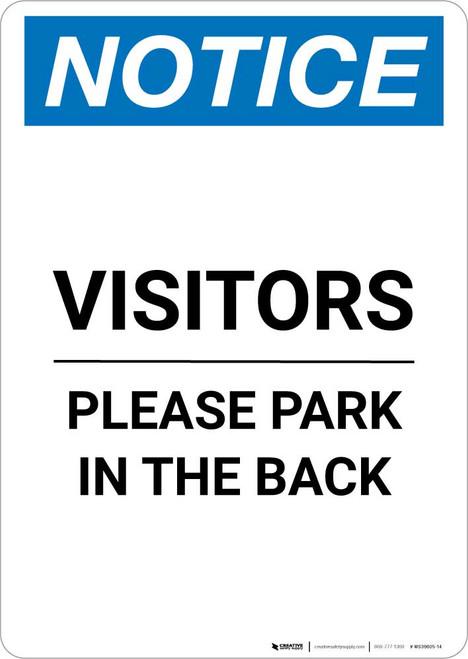 Notice: Visitors - Please Park In The Back Portrait