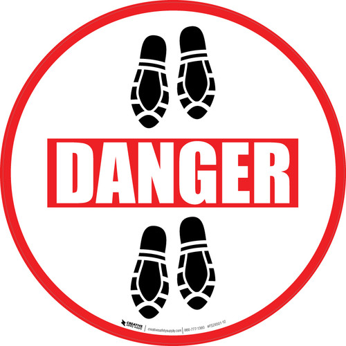 Danger: Shoe Prints Down Circular - Floor Sign