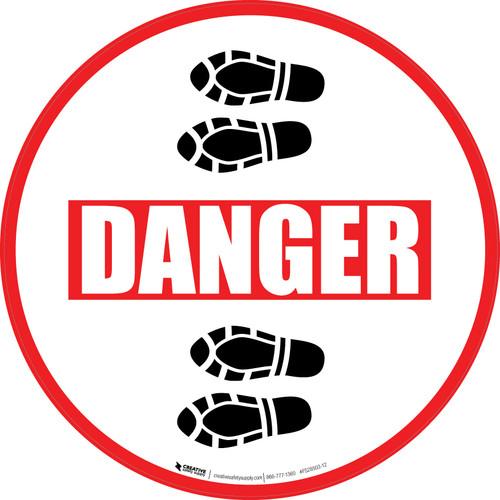 Danger: Shoe Prints Left Circular - Floor Sign