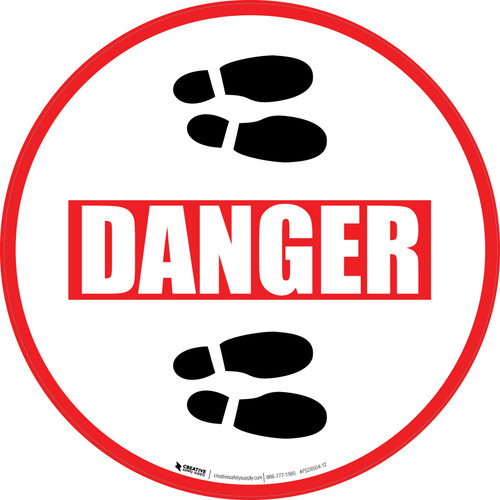Danger: Shoe Prints Right Circular v2 - Floor Sign