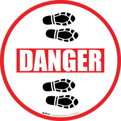 Danger: Shoe Prints Right Circular - Floor Sign
