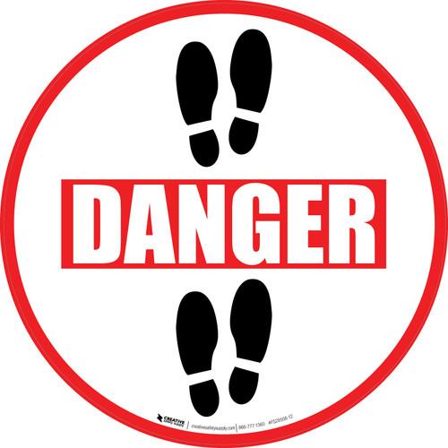Danger: Shoe Prints Up Circular v2 - Floor Sign