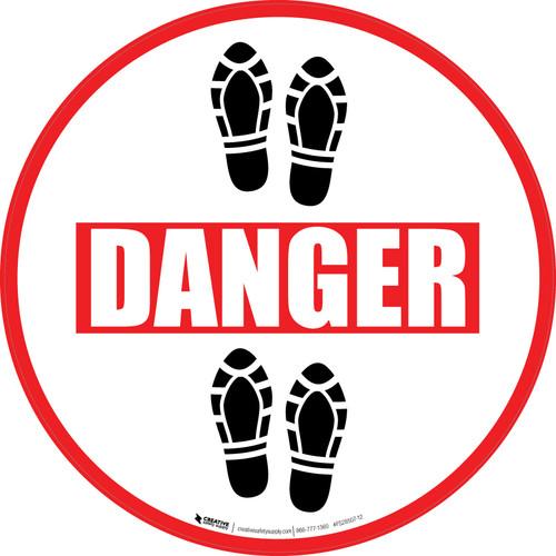 Danger: Shoe Prints Up Circular - Floor Sign