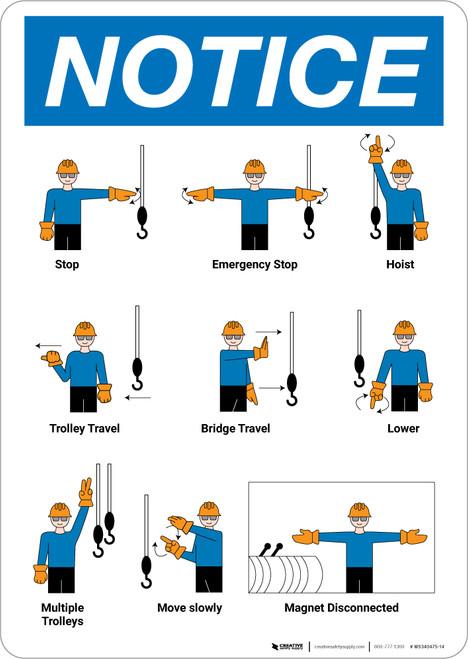 Notice: Overhead Crane Hand Signals Portrait