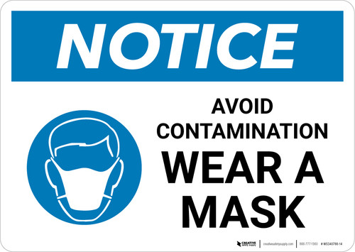 Notice: Avoid Contamination Wear a Mask with Icon Landscape - Wall Sign