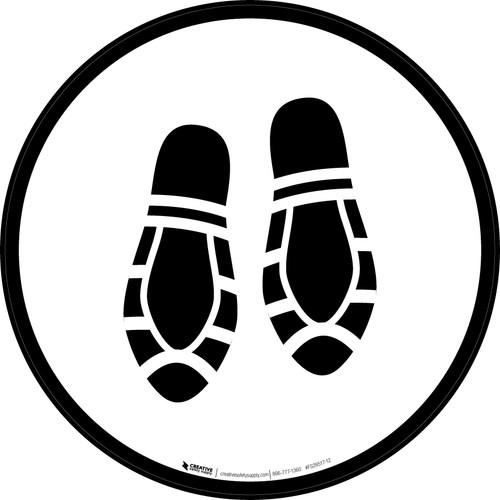 Shoe Print Down Black Circular - Floor Sign