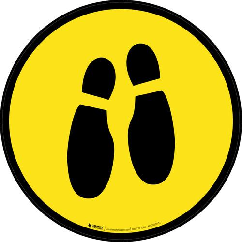 Shoe Print Down Yellow Circular v2 - Floor Sign