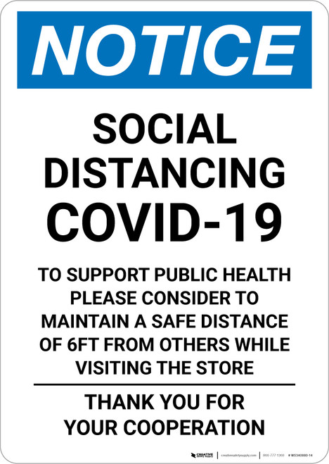 Notice: Social Distancing COVID-19 To Support Public Health Maintain Safe Distance Portrait - Wall Sign