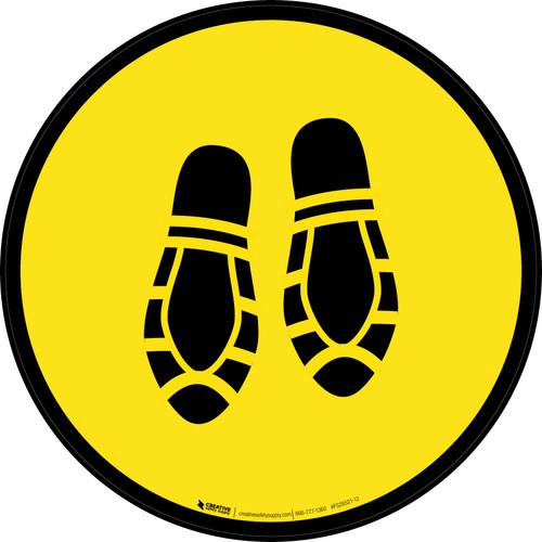 Shoe Print Down Yellow Circular - Floor Sign