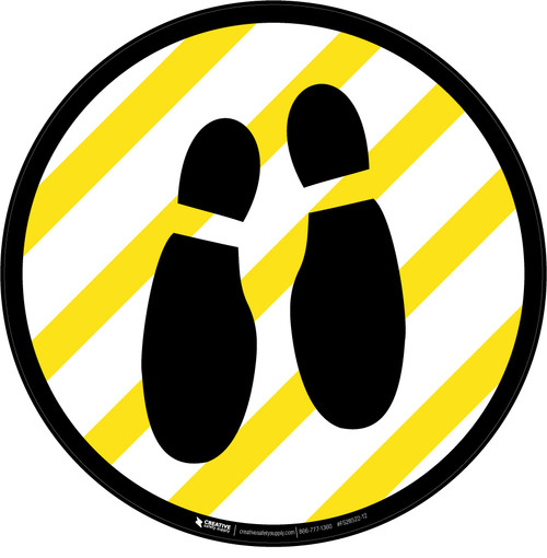 Shoe Print Down Yellow and White Circular v2 - Floor Sign