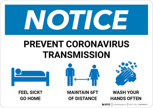 Notice: Prevent Coronavirus Transmission with Icons Landscape - Wall Sign