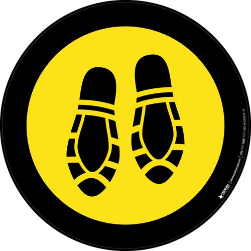 Shoe Print Down Yellow with Black Border Circular - Floor Sign