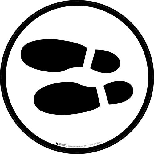 Shoe Print Left Black Circular v2 - Floor Sign