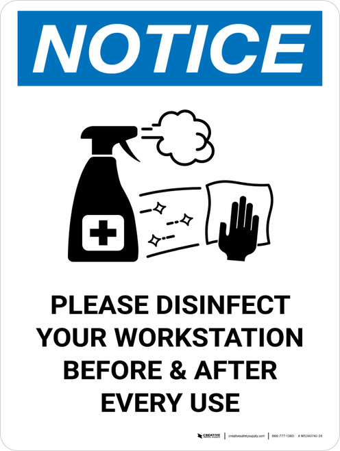 Notice: Please Disinfect Your Workstation with Icon Portrait - Wall Sign