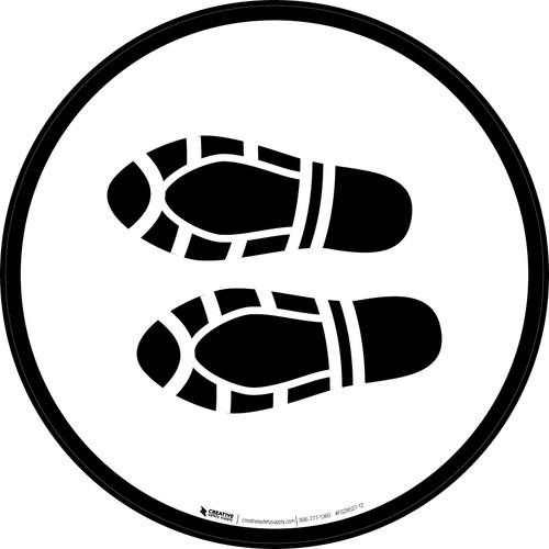 Shoe Print Left Black Circular - Floor Sign