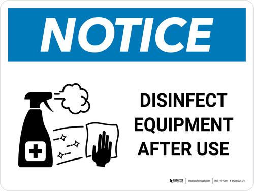 Notice: Disinfect Equipment After Use with Icon Landscape - Wall Sign
