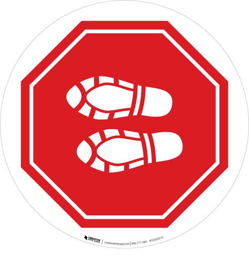 Shoe Print Left Stop Circular - Floor Sign